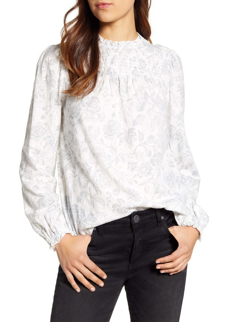 Lucky Brand Smocked Yoke Blouse