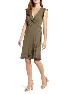 Lucky Brand Spring Fling Ruffle Cotton Knit Wrap Dress