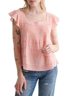 Lucky Brand Square Neck Flutter Sleeve Top