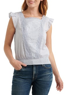 Lucky Brand Square Neck Mixed Media Top