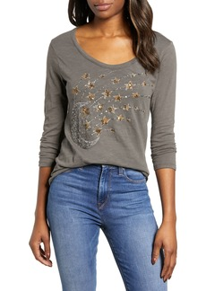 Lucky Brand Stars & Moon Beaded Tee