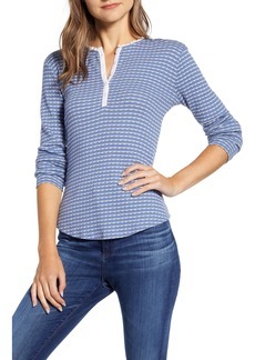 Lucky Brand Stipe Pointelle Thermal Henley