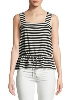 Lucky Brand Stripe Cotton Peplum Top
