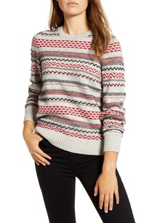 Lucky Brand Stripe Fair Isle Cotton & Wool Blend Sweater