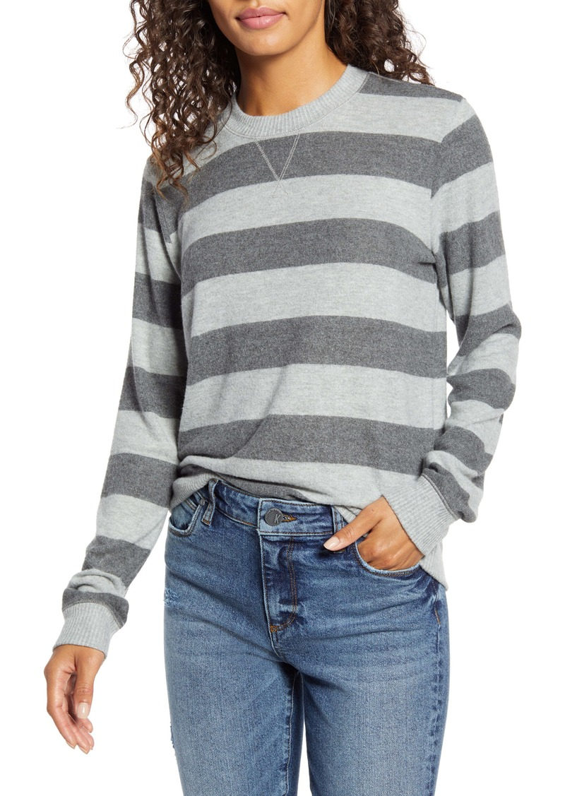 Lucky Brand Stripe Hacci Crewneck Top