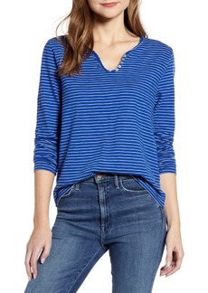 Lucky Brand Stripe Notch Neck Tee