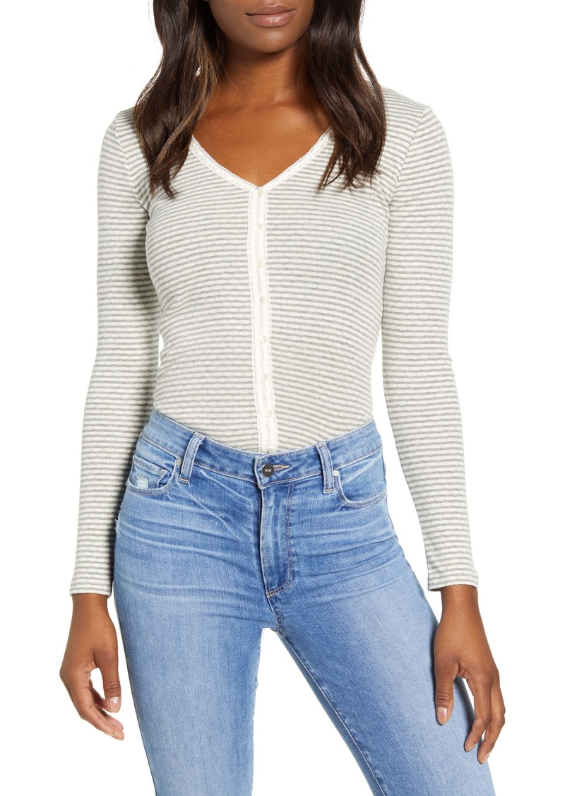 Lucky Brand Stripe Pointelle Button Front Top