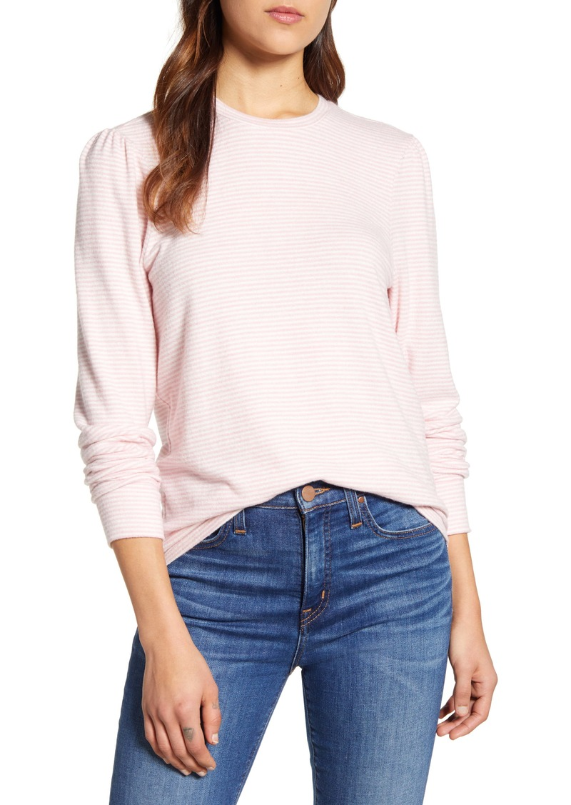 Lucky Brand Stripe Puff Sleeve Cloud Jersey Top