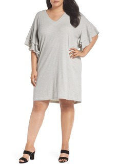 Lucky Brand Stripe Ruffle Minidress (Plus Size)