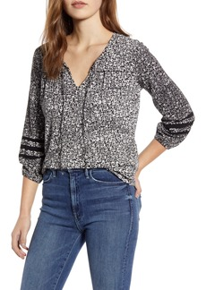 Lucky Brand Stripe Sleeve Print Peasant Top