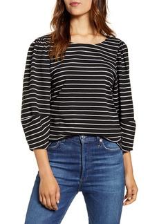 Lucky Brand Stripe Three-Quarter Sleeve Top