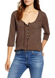 Lucky Brand Stripe Three Quarter Sleeve Top