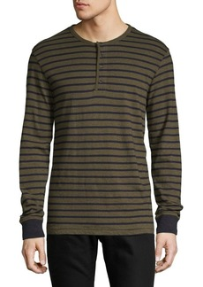 Lucky Brand Striped Long-Sleeve Cotton Henley