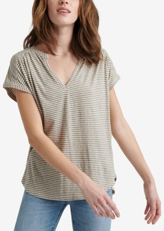 Lucky Brand Striped Notch Neck Top