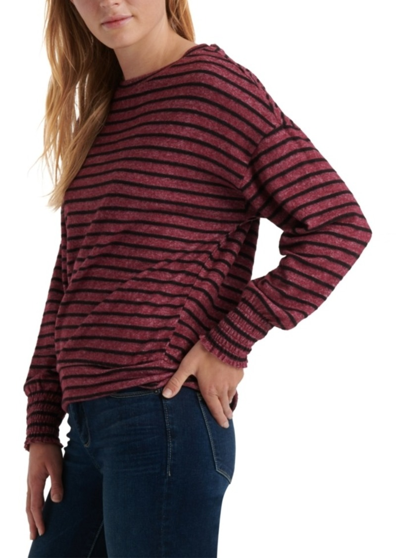Lucky Brand Striped Smocked-Cuff Sweatshirt