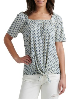 Lucky Brand Tie-Front Cotton-Blend Top
