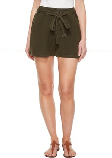 Lucky Brand Tie Front Linen Shorts in Deep Depths