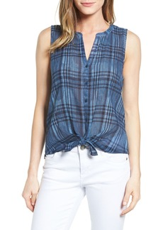 Lucky Brand Tie Front Plaid Top