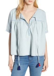 Lucky Brand Tie Neck Chambray Top