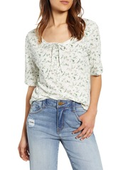 Lucky Brand Tie Neck Floral Top