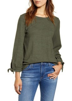Lucky Brand Tie Sleeve Cloud Jersey Top