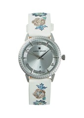 Lucky Brand Torrey Floral Embroidery Stainless Steel & Leather-Strap Watch