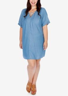 Lucky Brand Trendy Plus Size Chambray Lace-Up Sheath Dress
