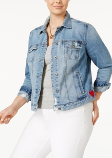 Lucky Brand Trendy Plus Size Cotton Embroidered Denim Jacket