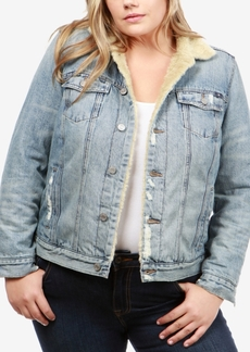 Lucky Brand Trendy Plus Size Cotton Faux-Sherpa Trucker Jacket