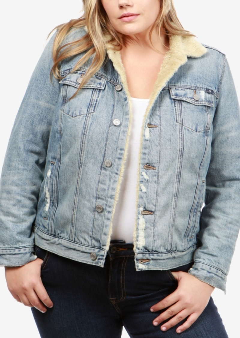 2d75bbfb5bf Lucky Brand Lucky Brand Trendy Plus Size Cotton Faux-Sherpa Trucker ...