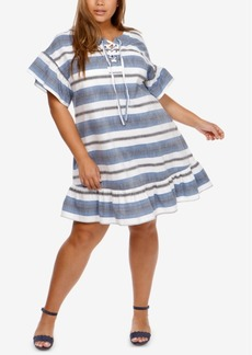 Lucky Brand Trendy Plus Size Cotton Lace-Up Shift Dress