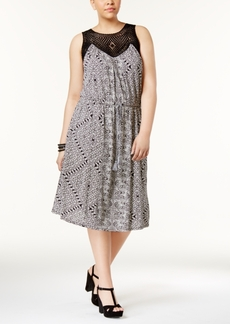 Lucky Brand Trendy Plus Size Crochet-Trim Midi Dress