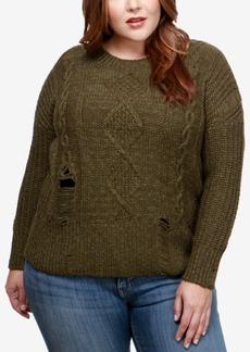Lucky Brand Trendy Plus Size Distressed Crew-Neck Sweater