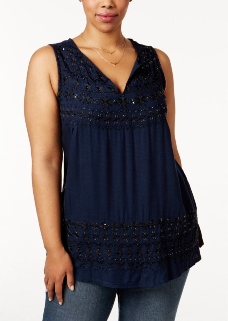 Lucky Brand Trendy Plus Size Embellished Knit-Back Top