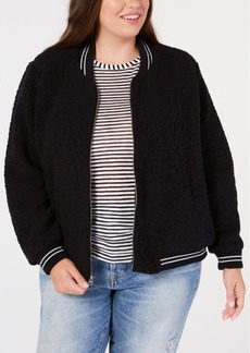 Lucky Brand Trendy Plus Size Fleece Bomber Jacket