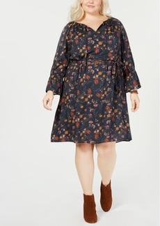 Lucky Brand Trendy Plus Size Floral-Print Peasant Dress