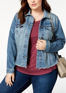 Lucky Brand Trendy Plus Size Frayed Denim Jacket