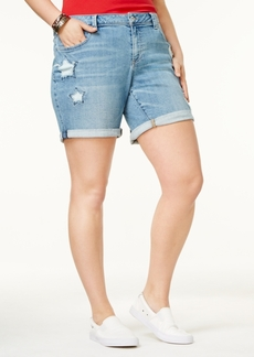 Lucky Brand Trendy Plus Size Georgia Star-Detail Denim Shorts