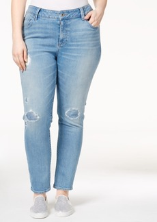 Lucky Brand Trendy Plus Size Ginger Ripped Ideal Wash Skinny Jeans