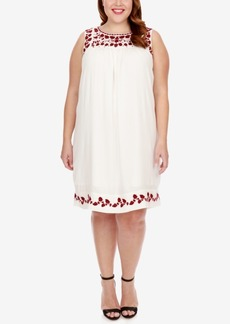Lucky Brand Trendy Plus Size Hannah Embroidered Shift Dress