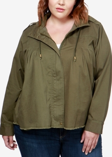 Lucky Brand Trendy Plus Size Hooded Military Jacket