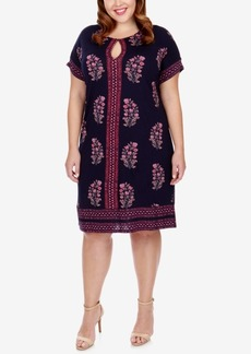 Lucky Brand Trendy Plus Size Keyhole T-Shirt Dress
