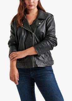 Lucky Brand Trendy Plus Size Leather Moto Jacket