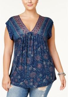 Lucky Brand Plus Size Mixed-Print Top