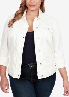 Lucky Brand Trendy Plus Size Printed-Back Denim Trucker Jacket