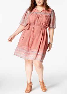 Lucky Brand Trendy Plus Size Printed Belted Peasant Dress