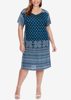 Lucky Brand Trendy Plus Size Printed T-Shirt Dress