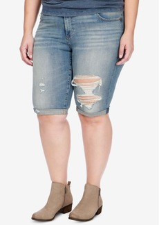 Lucky Brand Trendy Plus Size Ripped Denim Bermuda Shorts