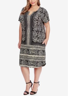 Lucky Brand Trendy Plus Size Scarf-Print T-Shirt Dress