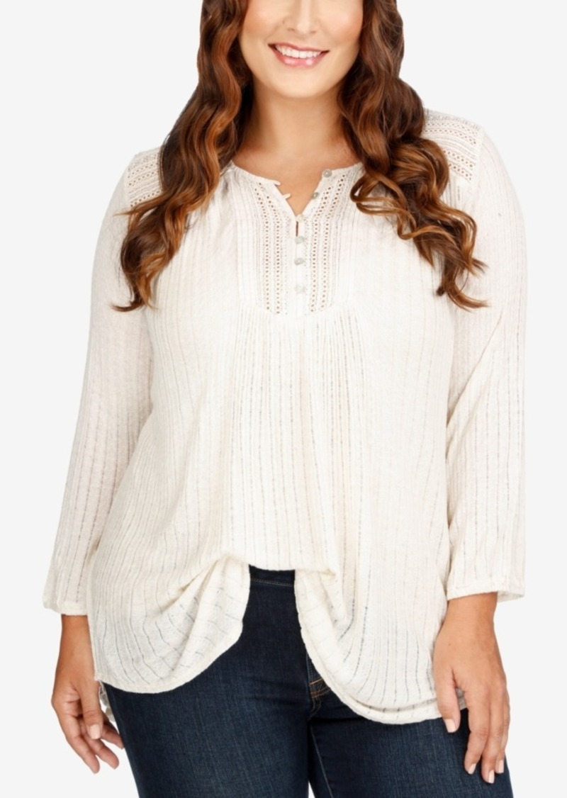 Lucky Brand Trendy Plus Size Sheer Henley Top